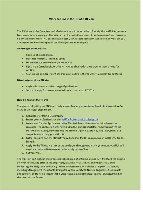 Tn Visa Letter Of Employment Exles work and live in the us with tn visa