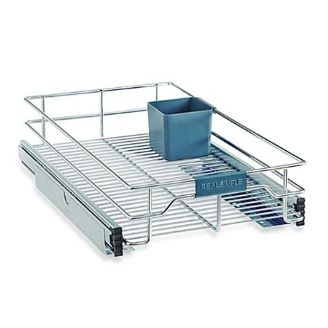 sliding under cabinet organizer real simple 174 sliding under cabinet organizer in chrome