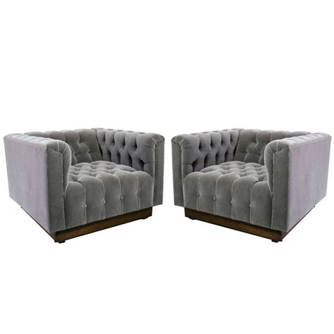 Gray Oversized Recliner Oversized Milo Baughman Tufted Lounge Chairs In Smoky Gray
