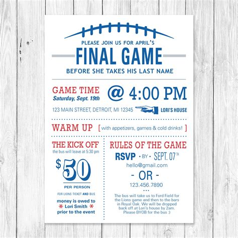 the football themed bachelorette invite customizable to your favorite team