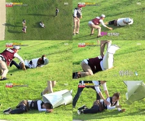 monday couple poses endearingly at running man after party gary rushes to save song ji hyo from getting hurt on