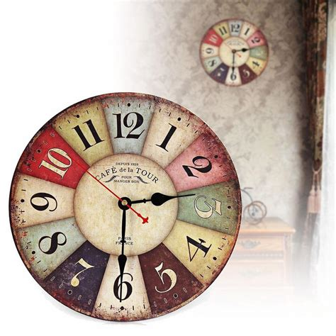 home decor wall clock vintage wooden wall clock shabby chic rustic retro kitchen