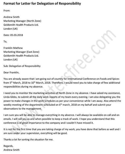 sle format for letter for delegation of responsibility