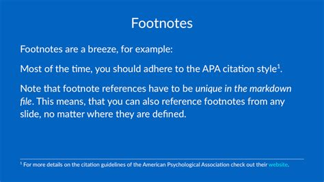 footnote format for website deckset help footnotes