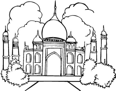 Free Coloring Pages Of Taj Mahal Outline Taj Mahal Coloring Page