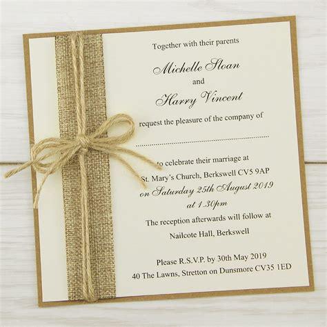 rustic burlap layered square wedding invitation pure invitation wedding invites