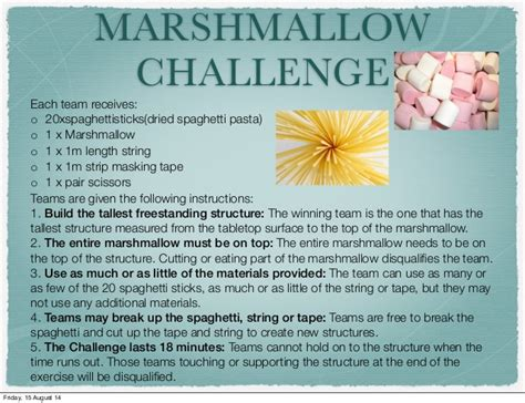 marshmallow challenge instructions marshmallow challenge