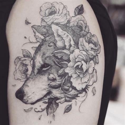 gg tattoo wooooooooolf justiceink wolf flowers