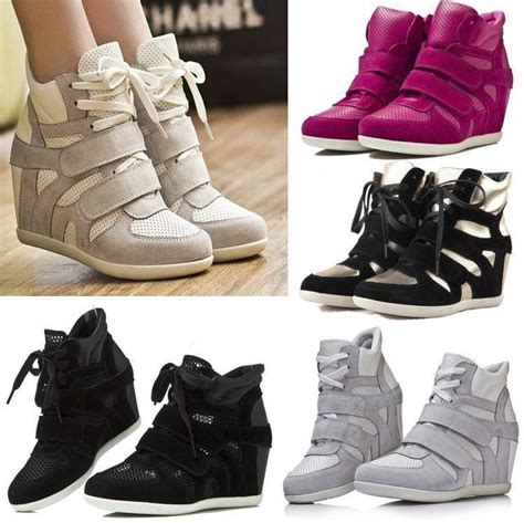 high heel tennis shoes for womens leather sneakers high heel hi top stylish wedge