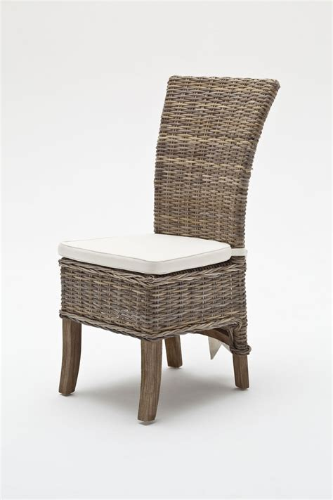 whitehaven painted wing back rattan dining chairs with cushion
