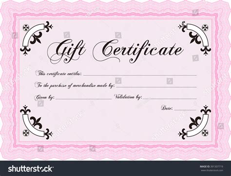 retro gift certificate template border frame stock vector