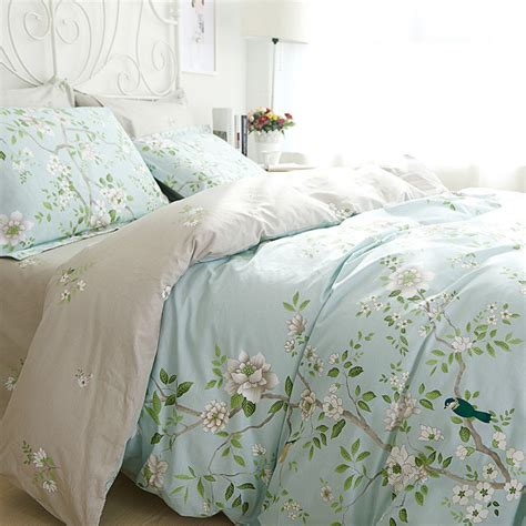 bird comforter sets green floral bird 100 cotton bedding duvet set twin queen