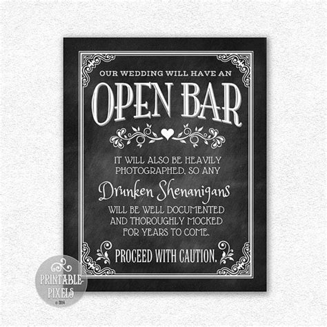 wedding signs template open bar wedding sign chalkboard printable bar