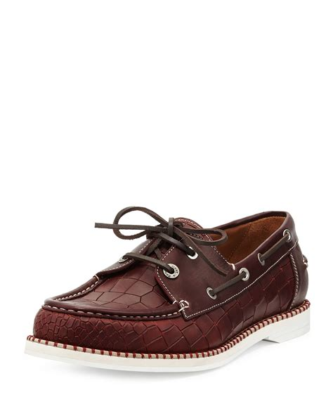 jimmy choo mens shoes jimmy choo danby crocembossed boat shoe in for lyst