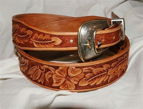 Handmade Cowboy Belts - handmade tooled leather belt your size by lone tree