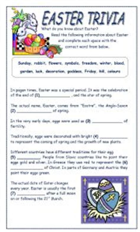 printable easter quiz for adults english worksheet easter trivia