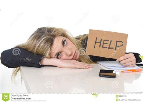 young beautiful business woman suffering stress working