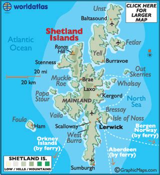 shetland islands map / geography of shetland islands / map