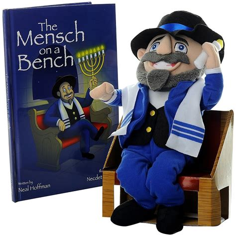 mensch on a bench hanukkah decor w hardcover book