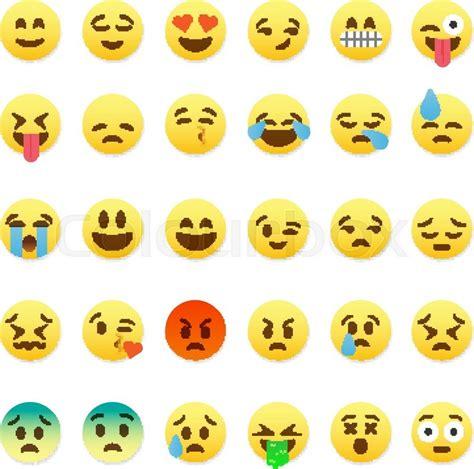 Flat Smile set of smiley emoticons emoji flat design vector