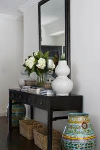 Tall Turquoise Floor Vase Black Console Table Transitional Entrance Foyer