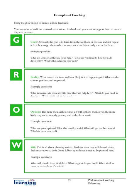 coaching notes template performance coaching handbook