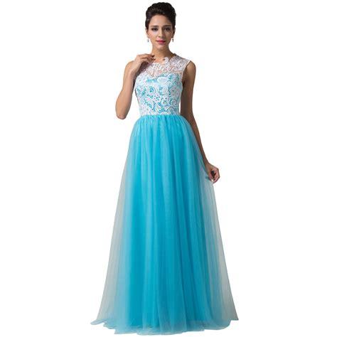 Dress Renda Biru kualitas tinggi makan malam gaun biru beli murah makan