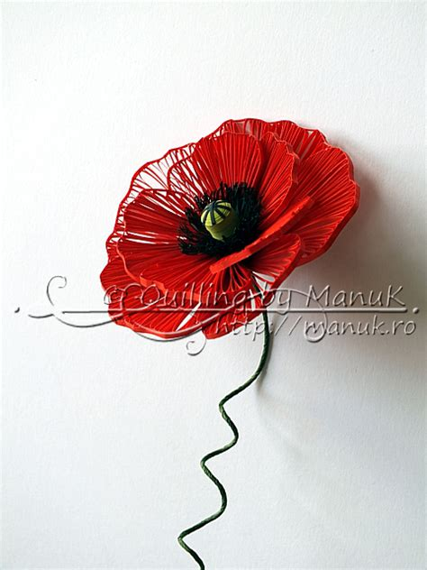Quilling Poppy Tutorial | quilled poppy quilling by manuk