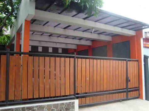 desain pagar rumah minimalis  kayu eksterior rumah