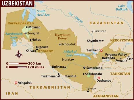 Uzbekistan Search Map Of Uzbekistan