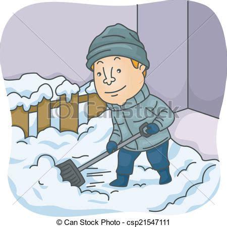 clipart neve clipart vettoriali di spalare uomo neve illustration