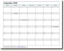 september 2018 printable calendar print as many as you want!