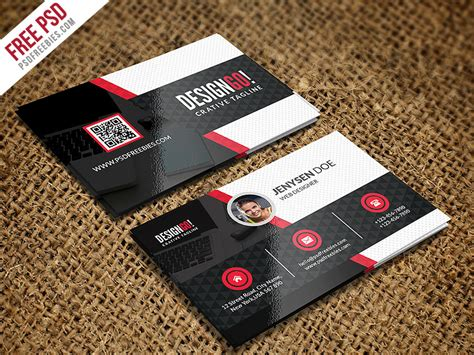 psd template bussiness card with photo creative and modern business card template psd