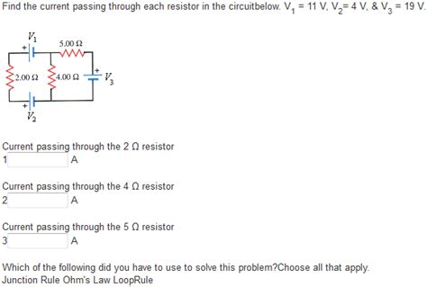 how to find current passing through resistor find the current passing through each resistor in chegg