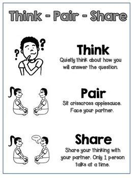 printable think poster think pair share poster printable b w ckla teaching