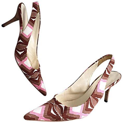 miu miu high heels miu miu pink brown white wooden heel slingback high