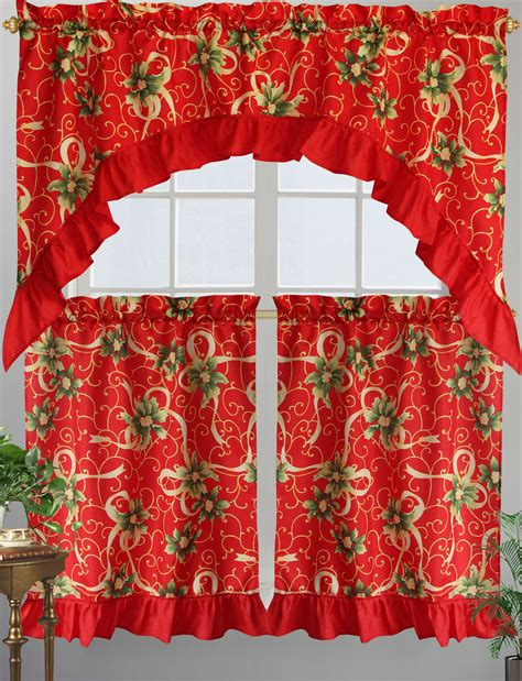 holiday kitchen curtains promo printed holiday 3 piece kitchen curtain set