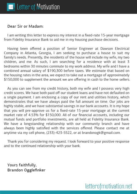 Loan Motivation Letter Motivation Letter For Mortgage Letter Of Motivation