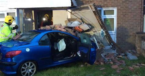 wood car porch car destroys porch after careering into house birmingham