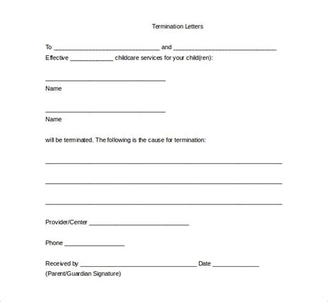 10 free termination letter template word pdf download