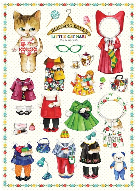 Paper Dolls Craft - paper doll clothes dress adorable cat