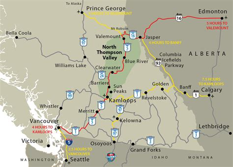 map of canada west barriere and lower thompson valley getting here