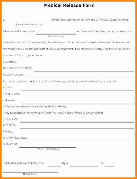 12  sample medical release form for children   ledger paper