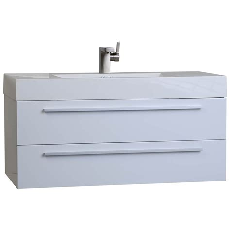Modern Bathroom Vanity White 35 5 In Wall Mount Modern Bathroom Vanity In High Gloss