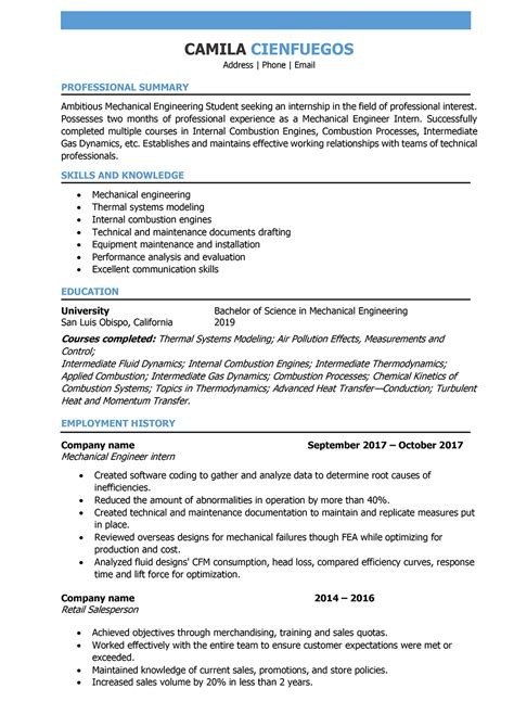 Resume For Mechanical Engineering Student by Mechanical Engineer Resume Sles And Writing Guide 10