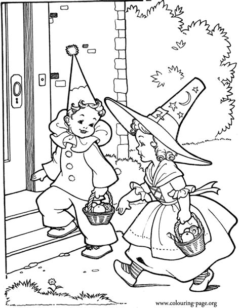 halloween birthday coloring page halloween kids going to halloween party coloring page