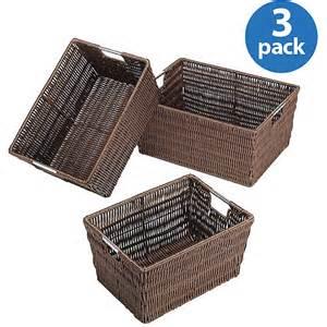cheap storage baskets for shelves rattan style storage baskets set of 3 walmart