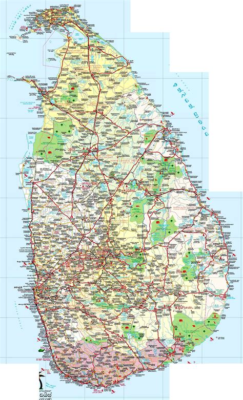 road map of large detailed road and tourist map of sri lanka sri lanka large detailed road and tourist map