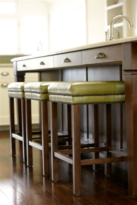 bar stools for kitchens green leather bar stools transitional kitchen