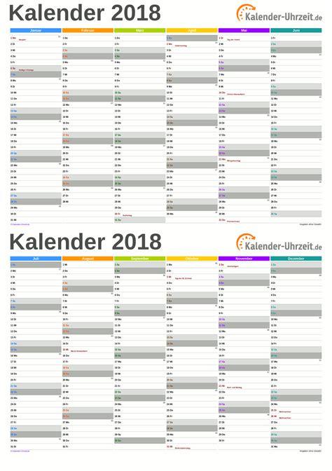 Kalender 2018 Bayern Halbjahr Excel Kalender 2018 Kostenlos